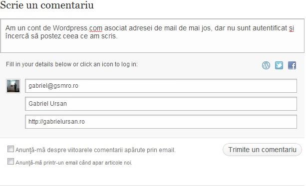Comentariu adresa mail asociata WordPress dar nu sunt autentificat