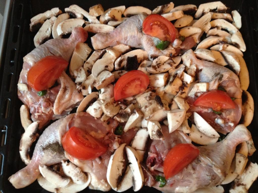 Pulpe de pui cu ciuperci - înainte
