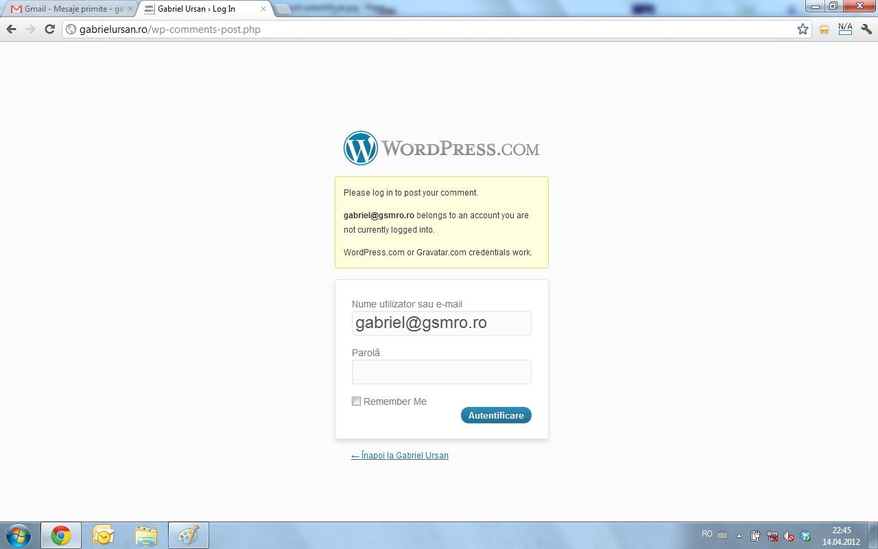 Voi fi redirectionat catre pagina de login unde trebuie sa ma autentific cu un cont de WordPress sau de Gravatar
