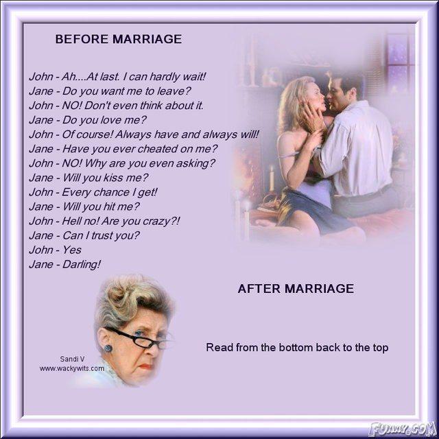 Amuzant: Înainte şi după căsătorie