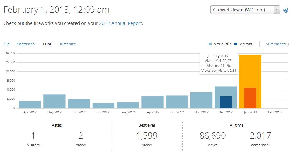 Statistici GabrielUrsan.ro - ianuarie 2013
