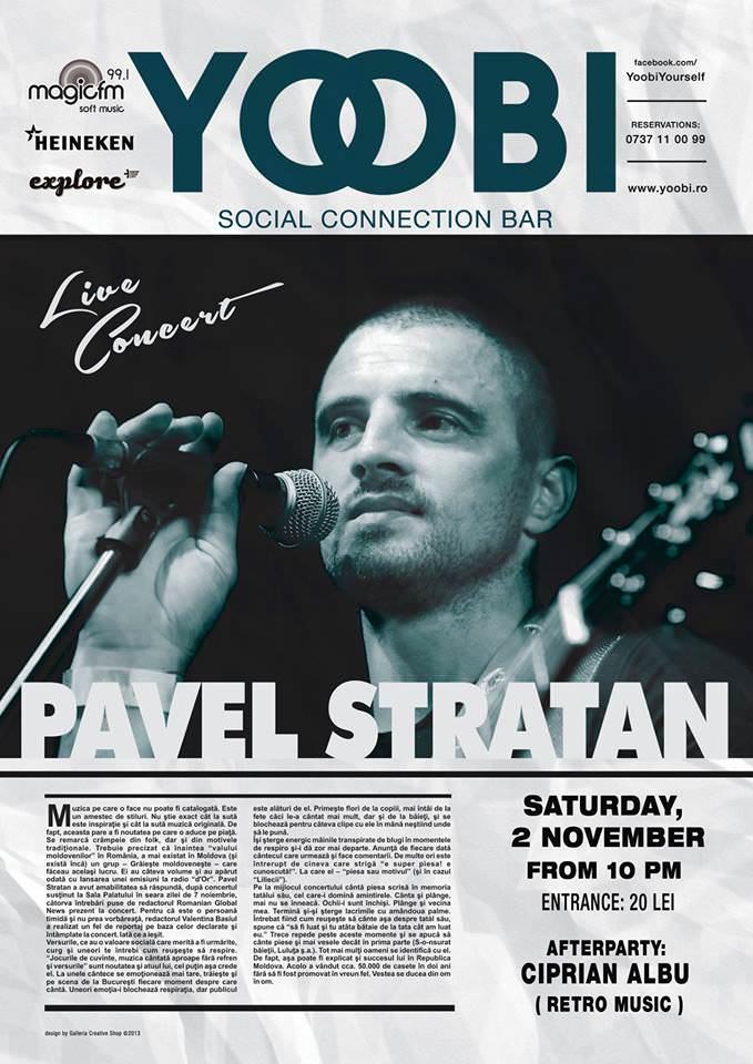 Ofer o invitație de 2 persoane la concertul lui Pavel Stratan din Galați