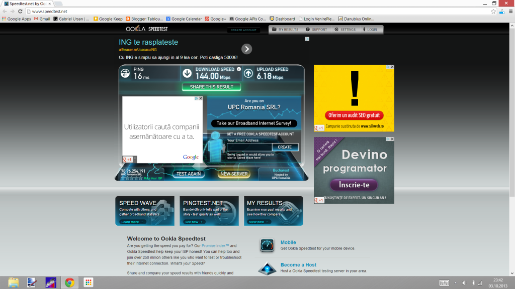 Test viteza 200 Mbps laptop