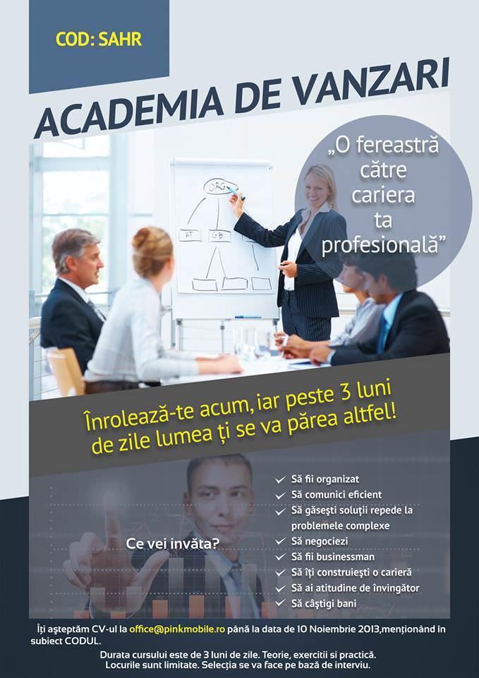 Oportunitate Job: Academia de Vânzări Galați. Înscrie-te și evoluează. Gratuit.