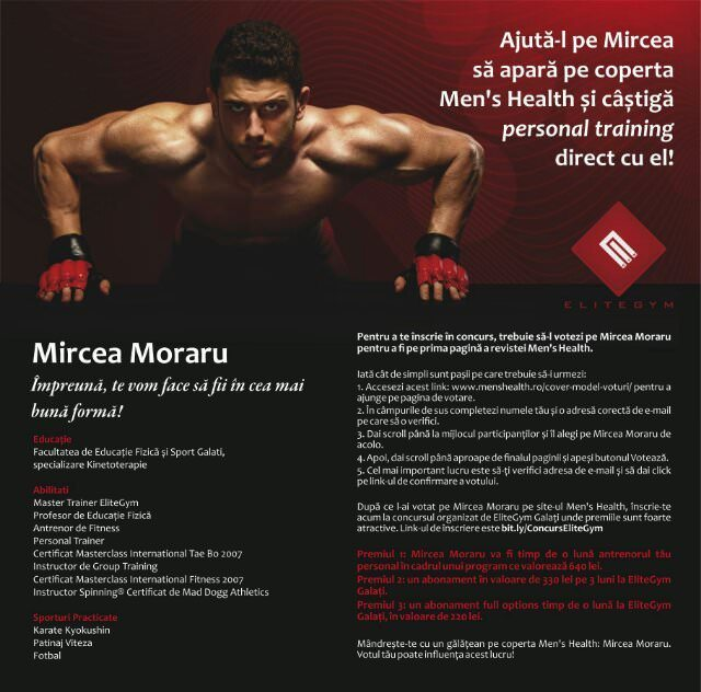 Ajută-l pe Mircea Moraru să apară pe coperta Men's Health și câștigă personal training direct cu el!