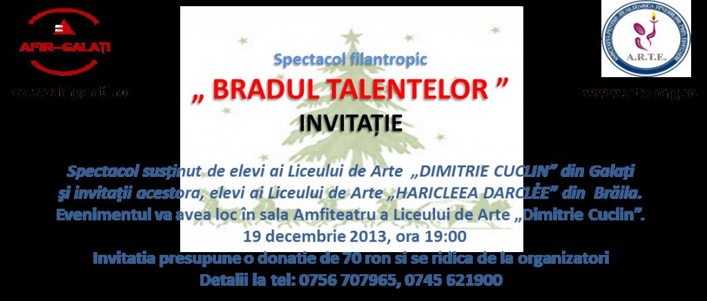Participă la spectacolul filantropic Bradul Talentelor