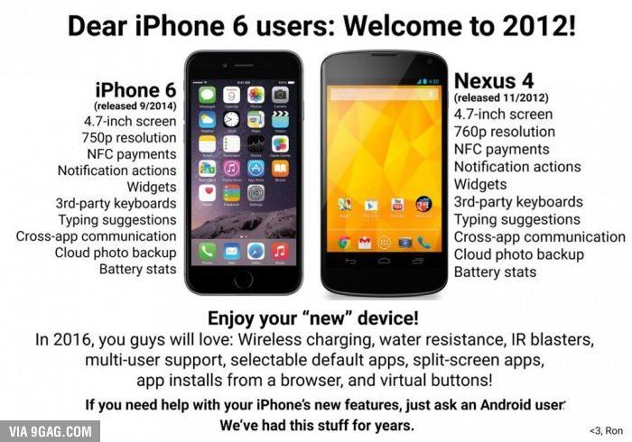 iPhone 6 vs Nexus 4, o comparatie amuzant de trista