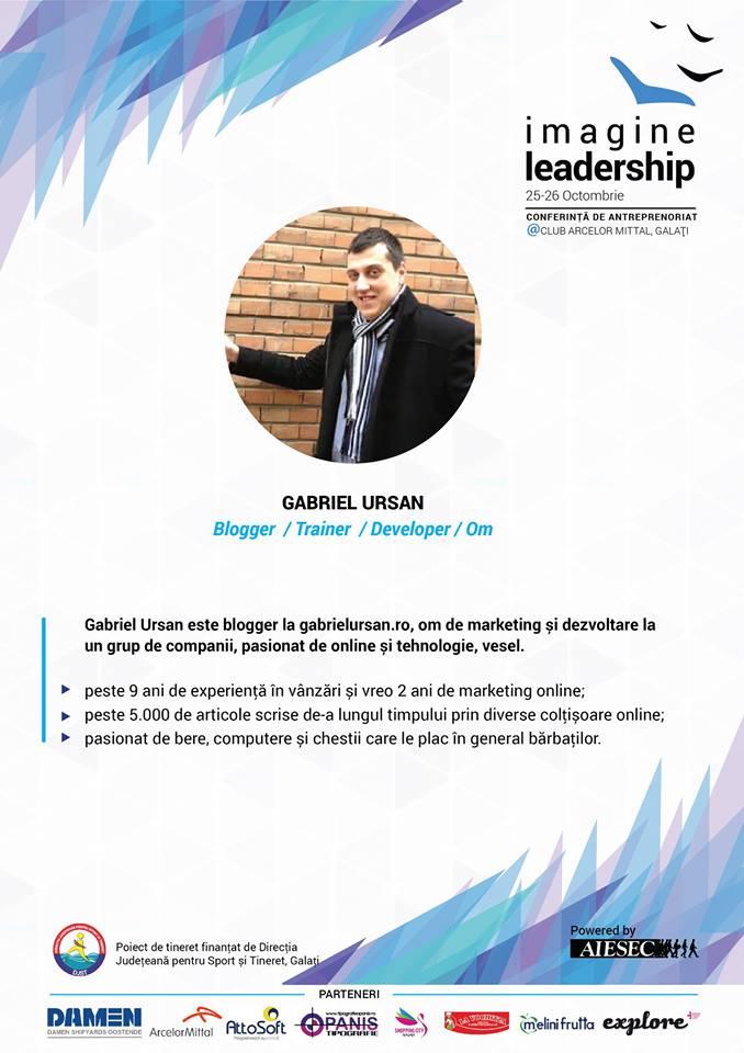 Pe 25 octombrie voi avea doua prezentari la Imagine Leadership