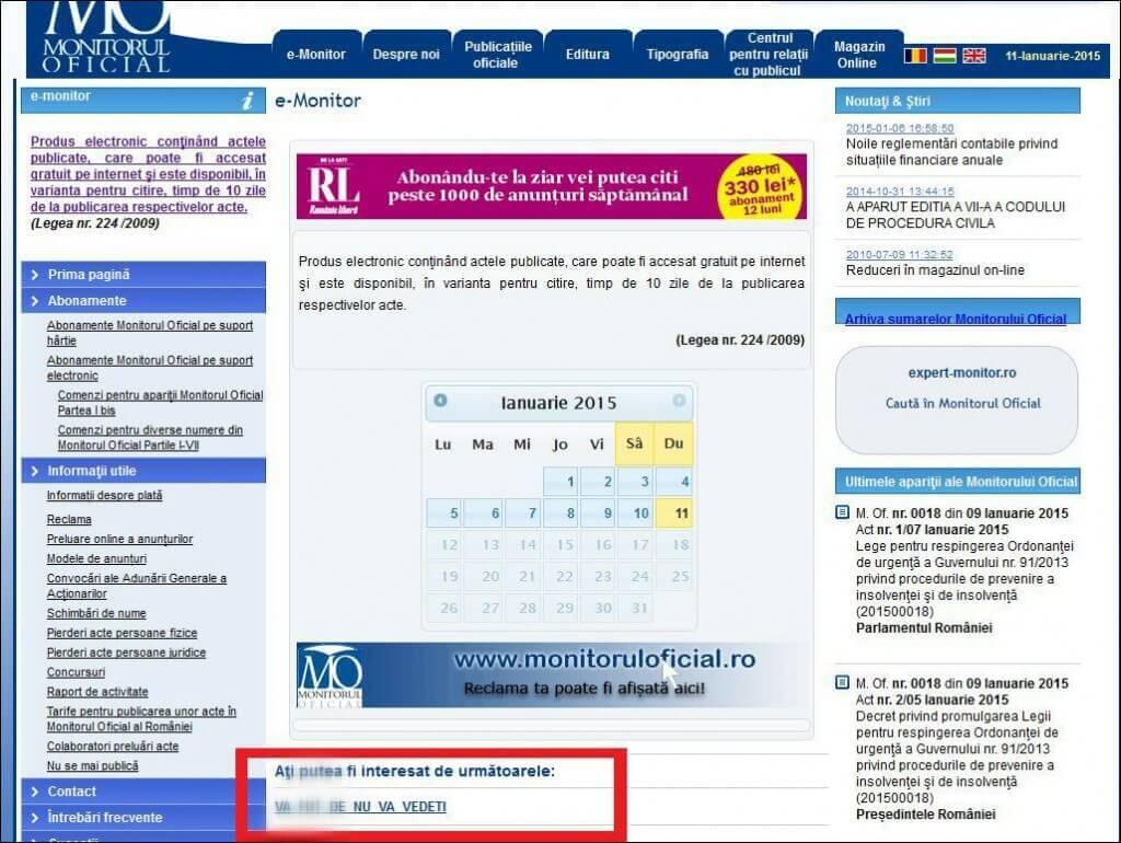 Site-ul Monitorului Oficial a fost putin spart