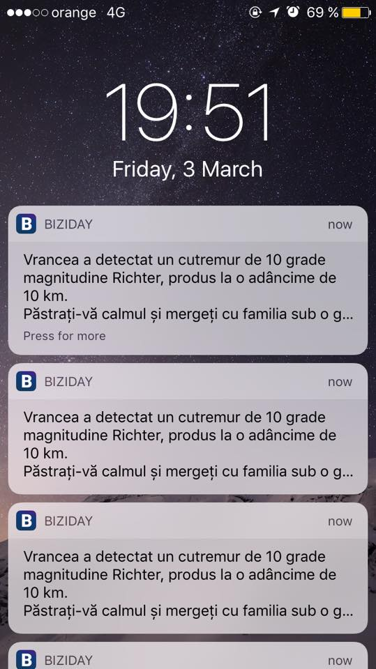 Cutremur 10 grade Biziday