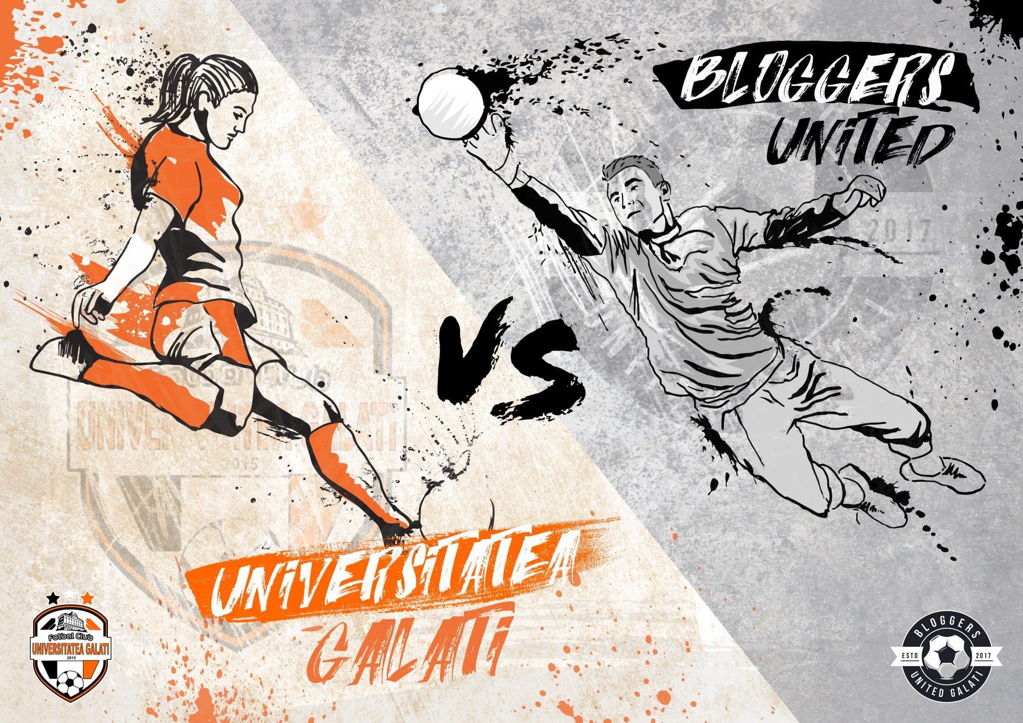 Poster fotbal feminin vs bloggeri