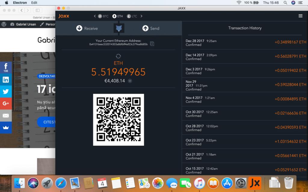 Portofel Ethereum si Bitcoin Jaxx
